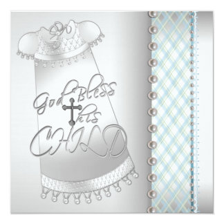 Pearl White Teal Blue Christening Invitations