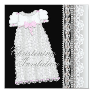Pearls Gown Baby Girl Pink Black Christening 13 Cm X 13 Cm Square Invitation Card
