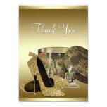 Pearls High Heel Shoes Black Gold Thank You Card Custom Invitation