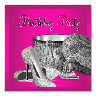 Pearls High Heel Shoes Womans Hot Pink Birthday Card
