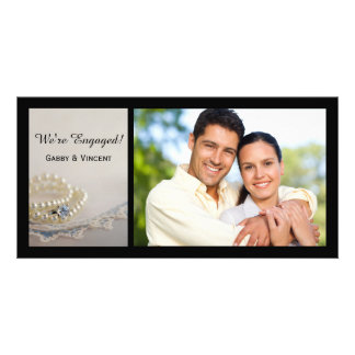 Pearls, Ring and Blue Lace Engagement Announcement Photo Card Template