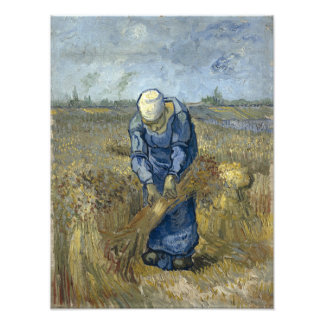Peasant Woman Binding Sheaves by Vincent Van Gogh Art Photo
