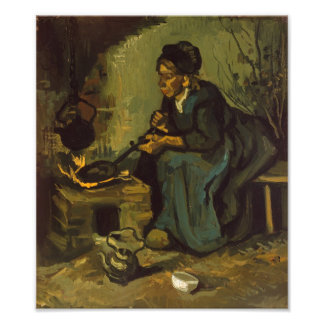 Peasant Woman Cooking by a Fireplace Photograph