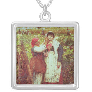Peasants in a vineyard silver plated necklace