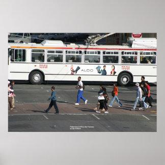 Pedestrians and Bus, San Francisco Print