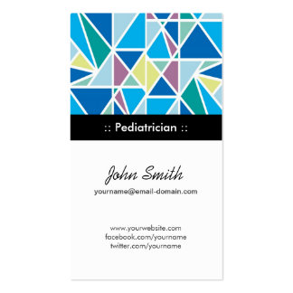 Pediatrician - Blue Abstract Geometry Business Card