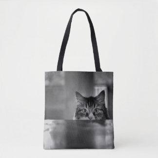 Peeking Cat Tote Bag