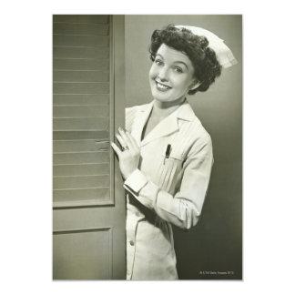 """Peeping Nurse 5"""" X 7"""" Invitation Card"""