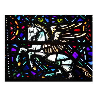Pegasus Winged Horse Stained Glass Fantasy Postcard