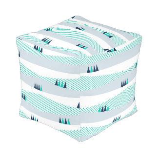Pegeo Aurora Turquoise Stripe & Navy Cubed Pouf
