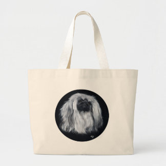 Pekingese Black & White Large Tote Bag