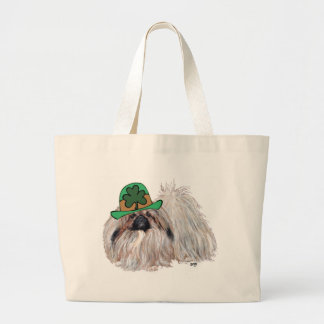 Pekingese Dogs Celebrate St. Patrick's Day Large Tote Bag