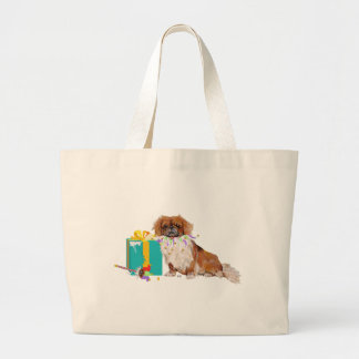 Pekingese in a Party Mood Large Tote Bag