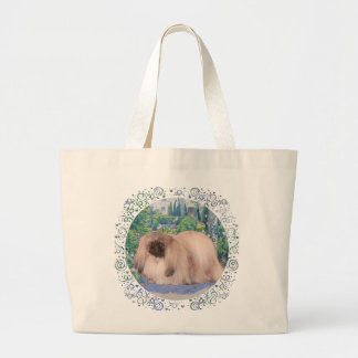 Pekingese in Flower Garden Large Tote Bag