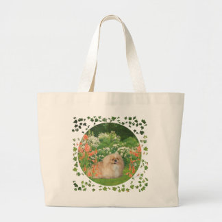 Pekingese in the Garden Large Tote Bag