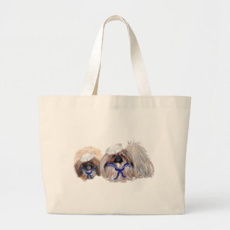 Pekingese Sailors Large Tote Bag