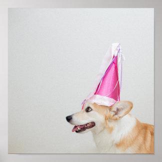 Pembroke Welsh Corgi Dog Wearing A Birthday Hat Poster