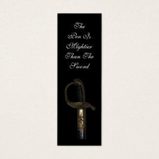 Pen Mightier Than Sword Bookmark Mini Business Card