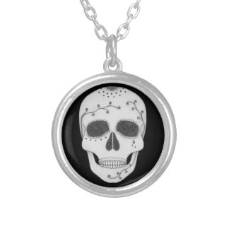Pencil Drawing Day of the Dead Sugar Skull Silver Plated Necklace