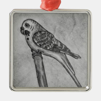 Pencil Drawing of Parakeet Sitting on Stick Perch Silver-Colored Square Decoration