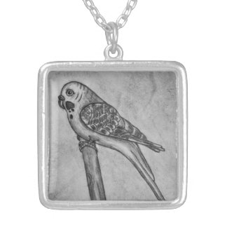 Pencil Drawing of Parakeet Sitting on Stick Perch Square Pendant Necklace