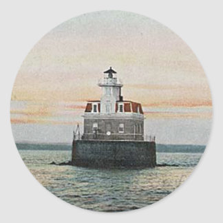 Penfield Reef Lighthouse Classic Round Sticker
