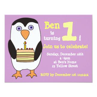 Penguin 1st Birthday Invitation, Birthday Party 11 Cm X 14 Cm Invitation Card