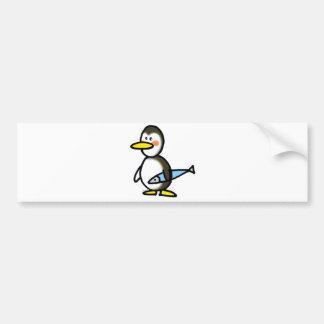 penguin and fish bumper sticker