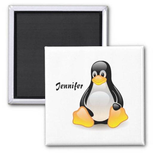 Penguin cartoon personalized, custom girls name fridge magnets
