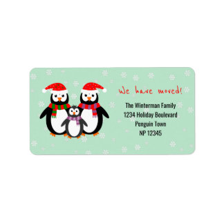 Penguin family we have moved address sticker