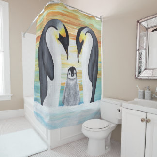 Penguin Family with Baby Penguin Shower Curtain