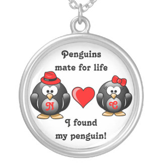 Penguin I Found My Mate for Life Pair Red Heart Necklace