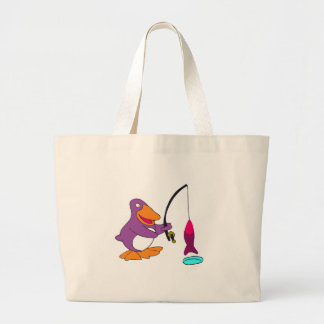 Penguin Ice Fishing T-shirts and Gifts Large Tote Bag