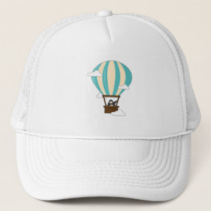 Penguin in Hot air balloon & Clouds Trucker Hat