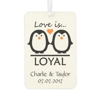Penguin Love custom names & date air freshner