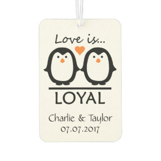 Penguin Love custom names & date air freshner Car Air Freshener
