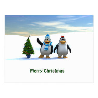 Penguin Pair with Tree Postcard