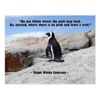 Penguin, Ralph Waldo Emerson Quote Postcard