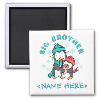 Penguin Winter Big Brother Square Magnet