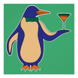 """Penguins and Martinis 24""""x24"""" Poster - Green"""