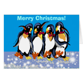 Penguins in bowties Merry Christmas Greeting Card