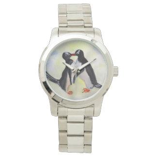 Penguins Time For Kiss Oversized Silver Bracelet Watch