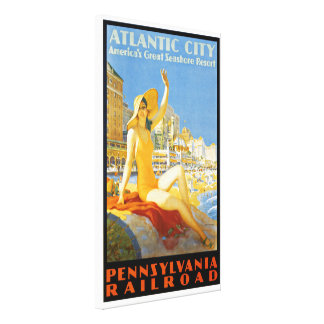 Pennsylvania Railroad to Atlantic City Wrapped Canvas Print