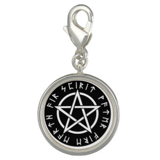 Pentacle and rune keychain