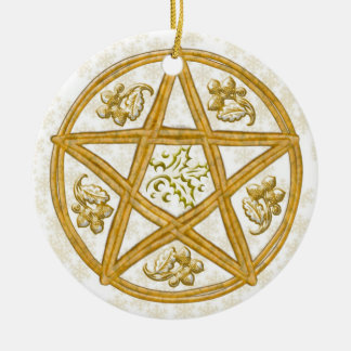 Pentacle Double Woven Wicker, Holly & Oak Christmas Ornament