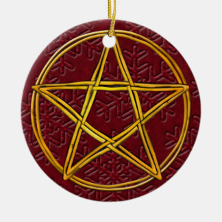 Pentacle Double Woven Wicker & Red Snowflakes Christmas Ornament