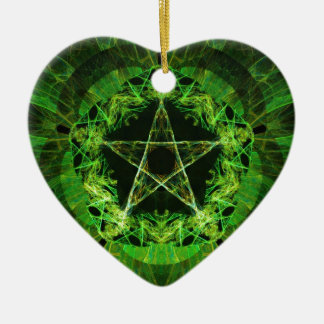 Pentacle green christmas ornament