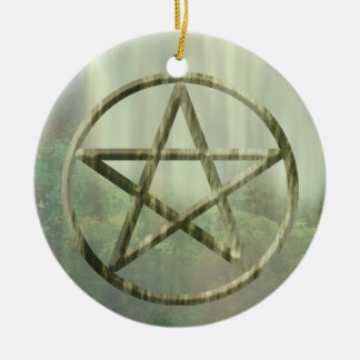 Pentacle in Wood Christmas Ornament