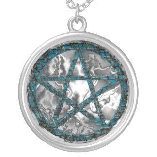 Pentacles: Aqua Round Pendant Necklace