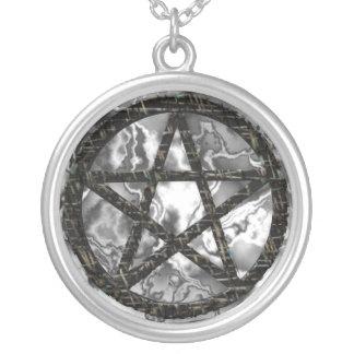 Pentacles: Black Round Pendant Necklace
